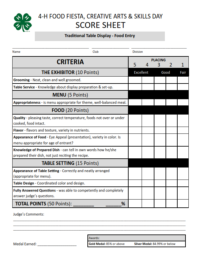 Food Fiesta Traditional Table Display - Food Entry Score Sheets