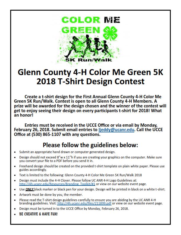 Color Me Green Run T-Shirt Contest Flyer & Design Form 2018_002