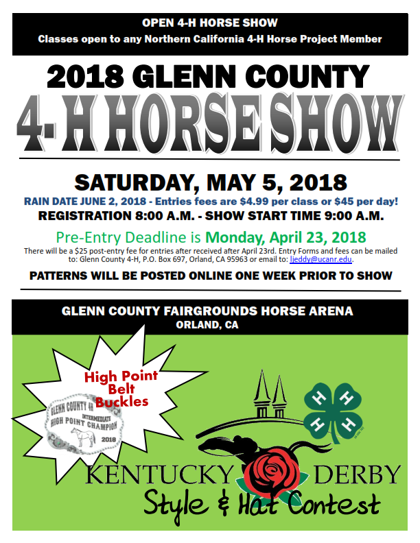 GLENN COUNTY 4-H HORSE SHOW PROGRAM & ENTRY FORMS 2018